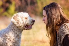 Girl with her dog. The girl tells something to her dog Stock Photography