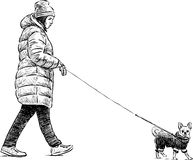 Girl with a her dog. Vector sketch of a woman with her pet on a walk stock illustration