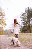 Girl and her dog walking in a park Royalty Free Stock Photography