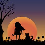 Girl and dog illustration Stock Photo