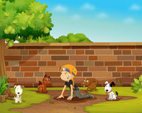 Girl and her dogs Royalty Free Stock Photos