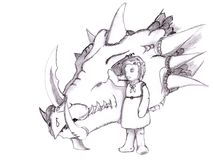 Girl and her pet dragon. A little girl with her pet giant dragon hand drawn with pencil Stock Photography