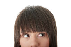 Girl with her eyes looking away right Royalty Free Stock Images