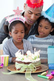 Girl and her family celebrating her birthday Royalty Free Stock Photography