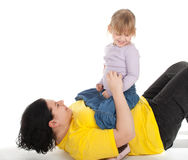 Girl with her fat mother Royalty Free Stock Images