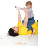 Girl with her fat mother Stock Photo
