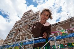 Girl in Yemen. A girl on her father`s vehicle poses at the camera on May 4, 2007 in Sanaa, Yemen. Although infant mortality is high, children in Yemen are Royalty Free Stock Photography