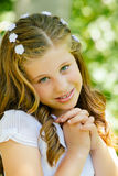 Girl in her First Communion Day Stock Photography