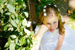 Girl in her First Communion Day Royalty Free Stock Photos