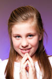 Girl in her First Communion Day Stock Photos