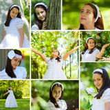 Girl in Her First Communion Day Royalty Free Stock Image