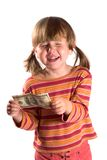 Girl and her first salary Royalty Free Stock Photo