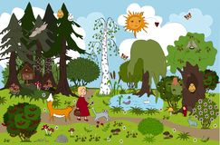 Girl and her friends cat and fox. Childish background for mats and other design. vector illustration