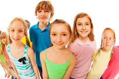 Girl and her friends, wide angle portrait Royalty Free Stock Photography