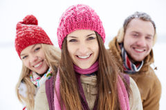 Girl and her friends Stock Image