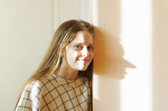 Girl and her funny shadow Stock Photography