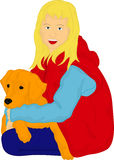Girl with her golden Retriever Stock Images