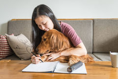 Girl and her golden retriever Stock Photography