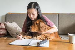Girl and her golden retriever Royalty Free Stock Images