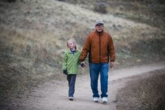 Girl and her grandfather Royalty Free Stock Image