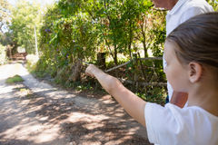 Girl with her grandfather pointing at a distance in the forest Royalty Free Stock Images