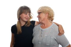 Girl with her grandmother Royalty Free Stock Photos