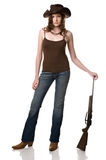 Girl and her gun stock image