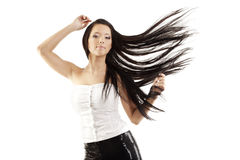 Girl, her hair is beautifully fly Royalty Free Stock Images