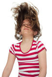 Girl with her hair blowing in the wind Stock Photos