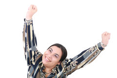 Girl with her hands up Royalty Free Stock Images