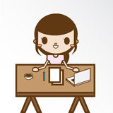 The Girl in her home office Stock Images