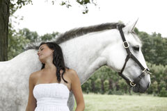Girl and her Horse Stock Photo