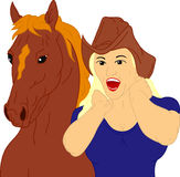 Girl with her horse Royalty Free Stock Photography