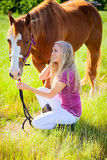 A girl and her horse Royalty Free Stock Photos