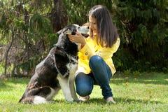 Girl and her husky Stock Photography