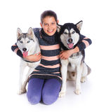 Girl with her Husky Royalty Free Stock Photos