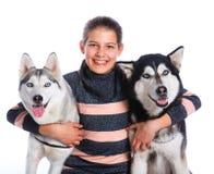 Girl with her Husky Stock Photos