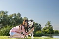Girl and her husky Royalty Free Stock Photos