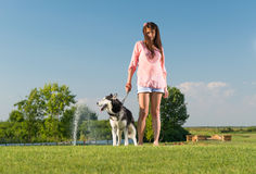 Girl and her husky Royalty Free Stock Photo