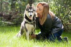 Girl and her husky Royalty Free Stock Photography