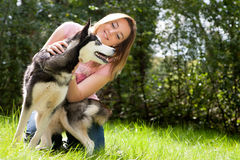 Girl and her husky Royalty Free Stock Image