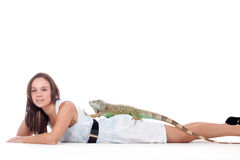 Girl with her iguana Stock Photos