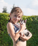 Girl with her kitten Royalty Free Stock Photography