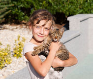Girl with her kitten Royalty Free Stock Image