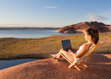 Girl at Her Lake Powell Office Stock Photos
