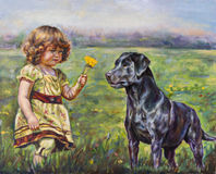 Girl with her little flower and dog Stock Image