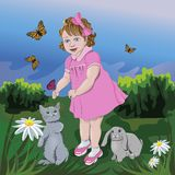 A girl with her little friends. A girl with her little friends, a cat and a rabbit. Vector illustration royalty free illustration