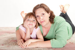 Girl with her Mom Stock Images