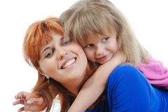 Girl with her mother Stock Images