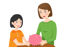 A girl with her mother holding a piggy bank vector illustration
